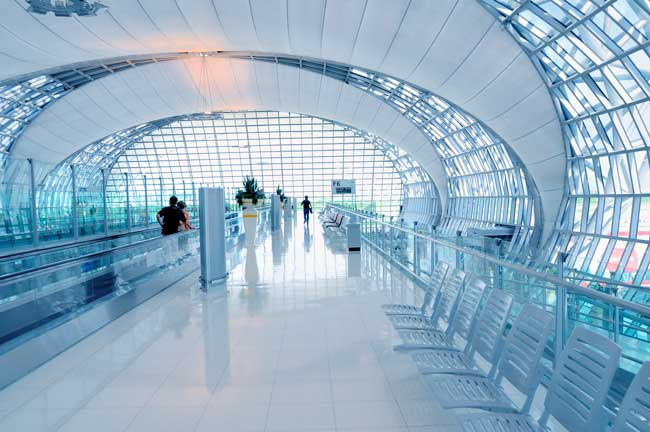 Bangkok Airport has one of the biggest airport terminals in the world.