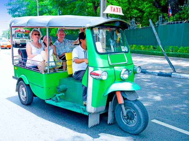 Tuk-tuk is a cheap and fast way to move though Bangkok for short distance trips.